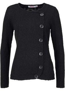 Пуловер с линией пуговиц и длинным рукавом (темно-синий) Bonprix