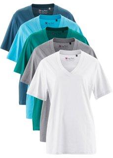Удлиненная футболка с коротким рукавом (5 шт.) (клубничный + черный + белый + ) Bonprix