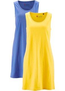 Хлопковое трикотажное платье (серо-коричневый + синий ментол) Bonprix
