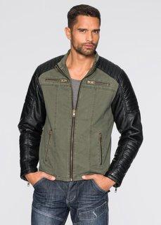 Куртка Regular Fit из искусственной кожи (темно-оливковый) Bonprix