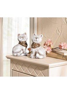 Статуэтки Кошечки с шарфиками (2 шт.) (серый/коричневый) Bonprix