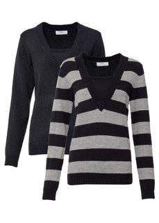 Пуловер (комплект из 2-х изделий) (изумрудный в полоску + изумруд) Bonprix