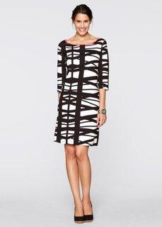 Трикотажное платье с рукавом 3/4 (черный/белый) Bonprix