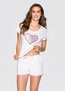 Пижама (белый/розовый/красный) Bonprix