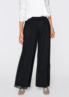 Трикотажные брюки с очень широкими брючинами (черный) Bonprix