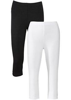 Легинсы-стретч капри (2 шт.) (светло-серый меланж + черный) Bonprix