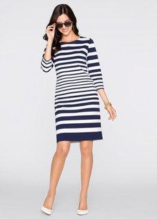 Платье (белый/темно-синий в полоску) Bonprix
