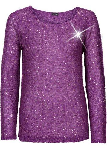 Пуловер с пайетками (черный/золотистый)