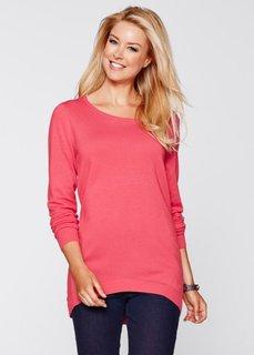 Асимметричный пуловер с длинным рукавом (нежный ярко-розовый) Bonprix