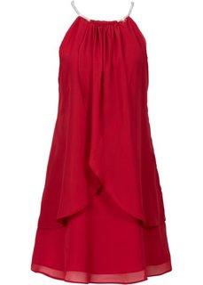 Шифоновое платье с американской проймой (темно-синий) Bonprix