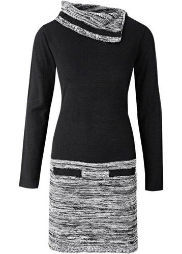 Вязаное платье 2 в 1 (темно-оливковый/черный)