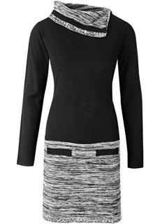Вязаное платье 2 в 1 (темно-оливковый/черный) Bonprix