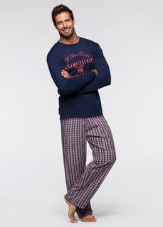 Пижама с брюками (синий/белый/оранжевый с узором) Bonprix