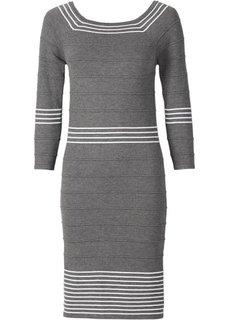Вязаное платье (темно-синий/белый) Bonprix