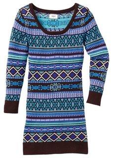 Вязаное платье, Размеры  116/122-164/170 (горячий ярко-розовый/светло-се) Bonprix