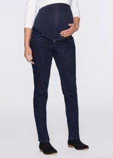 Мода для будущих мам: джинсы с двумя трикотажными поясами на животик (темно-синий «потертый») Bonprix