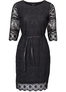 Трикотажное платье с кружевной отделкой (индиго) Bonprix