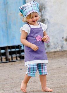 Платье + футболка + легинсы + косынка (4 изд.) (нежно-лиловый в клетку) Bonprix