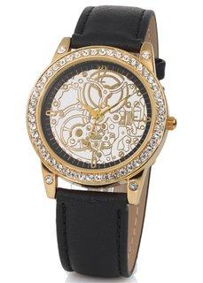 Часы со стразами и кожаным браслетом (коричневый) Bonprix