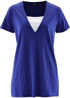 Удлиненная футболка 2 в 1 (синий ментол) Bonprix
