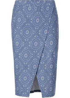 Трикотажная юбка с запахом (в горошек) Bonprix