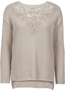 Пуловер с вязаным кружевом (черный) Bonprix
