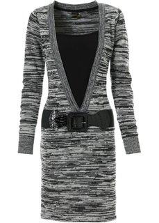 Вязаное платье (серо-синий/черный) Bonprix