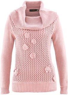 Пуловер с вязаным кружевом ПРЕМИУМ (серо-коричневый) Bonprix