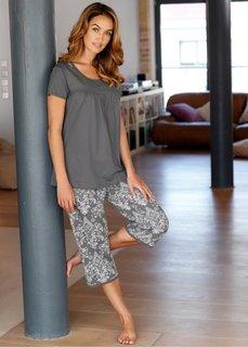 Пижама-капри (серый с рисунком) Bonprix
