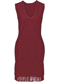 Платье с бахромой (кремовый) Bonprix