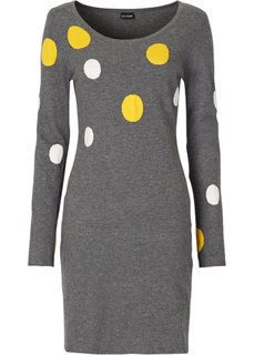 Вязаное платье (черный/ярко-розовый в горошек) Bonprix
