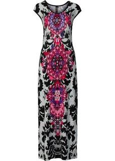 Трикотажное макси-платье (черный/белый/бирюзовый) Bonprix
