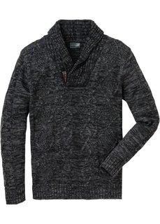 Пуловер Regular Fit с шалевым воротником (темно-красный/темно-синий мела) Bonprix