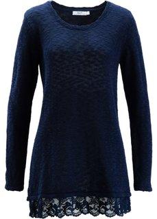 Пуловер с длинным рукавом и кружевной отделкой (черный) Bonprix