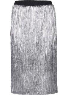 Блестящая юбка-миди (черный) Bonprix
