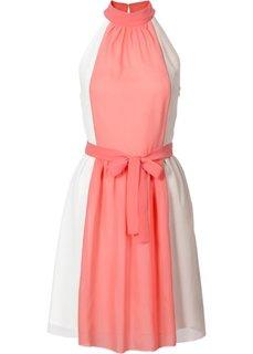 Платье с американской проймой (белый/мятный пастельный/серо-к) Bonprix