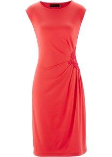Трикотажное платье с кружевом (черный) Bonprix