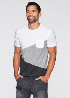 Футболка Slim Fit (белый/серый меланж) Bonprix