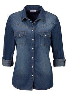 Джинсовая рубашка (темный деним «потертый») Bonprix
