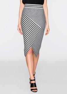 Асимметричная юбка (черный/белый в полоску) Bonprix