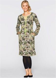 Трикотажное платье с длинным рукавом (новый хаки с узором) Bonprix