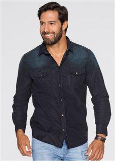 Вельветовая рубашка Regular Fit (синий джинсовый «потертый») Bonprix