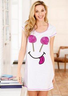 Ночная рубашка (белый с рисунком) Bonprix