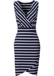 Трикотажное платье (темно-синий/белый в горошек) Bonprix