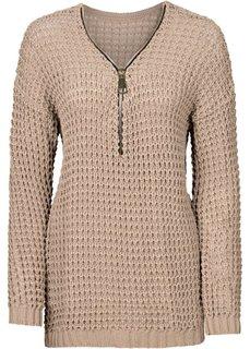 Вязаный пуловер с вырезом на молнии (синий) Bonprix