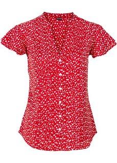 Блузка с плиссировкой (ночная синь в горошек) Bonprix