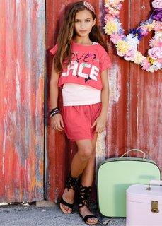 Широкая футболка + топ + юбка (3 изд.), Размеры  116/122-164/170 (нежный ярко-розовый/розовая пу) Bonprix