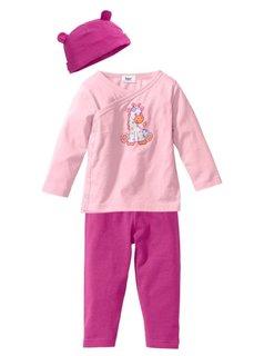 Мода для малышей из биохлопка: футболка с эффектом запаха + трикотажные брюки + шапочка (3 изд.), Размеры  44/50-68/74 (нежно-голубой/голубой) Bonprix