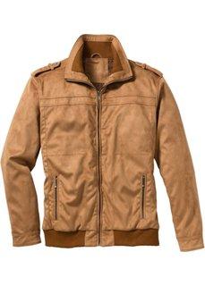 Куртка-бомбер Regular Fit из искусственной кожи (темно-синий) Bonprix