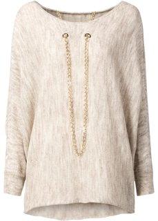 Вязаный пуловер с цепочкой (светло-серый меланж) Bonprix
